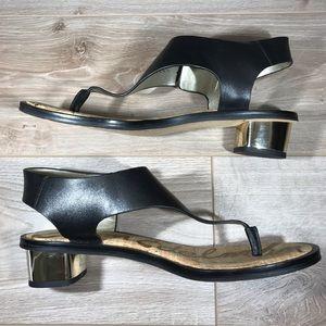 Sam Edelman | Black Leather & Gold Heel Sandals
